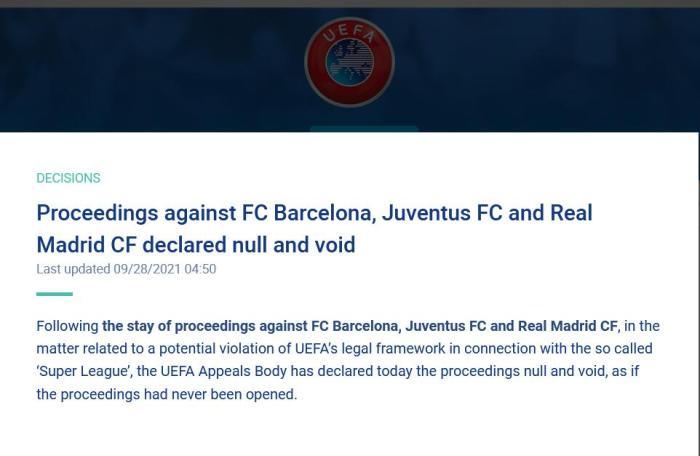 欧足联官宣对皇萨文的诉讼无效:就像诉讼从未启动